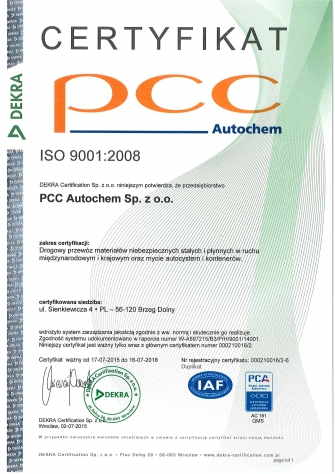 ISO 2008 Zertifikat PL