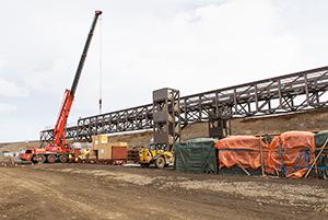 PCC BakkiSilicon - Conveyor belt bridge in the area of the quartzite storage.