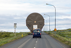PCC BakkiSilicon - Heavy load transport of a dust silo from the Husavik port to the construction site.