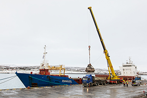 PCC BakkiSilicon - Unloading of the first shipment of quartzite from PCC Silicium as well as coal in the port of Húsavík.
