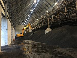 PCC BakkiSilicon - Interior view of the already full coal storage facility.